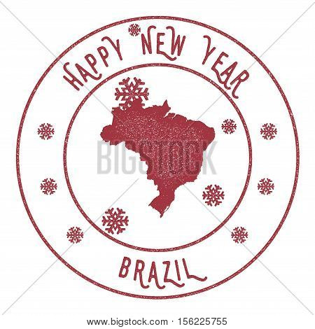 Retro Happy New Year Brazil Stamp. Stylised Rubber Stamp With County Map And Happy New Year Text, Ve