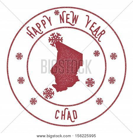 Retro Happy New Year Chad Stamp. Stylised Rubber Stamp With County Map And Happy New Year Text, Vect