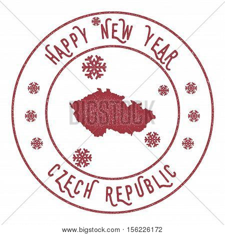 Retro Happy New Year Czech Republic Stamp. Stylised Rubber Stamp With County Map And Happy New Year