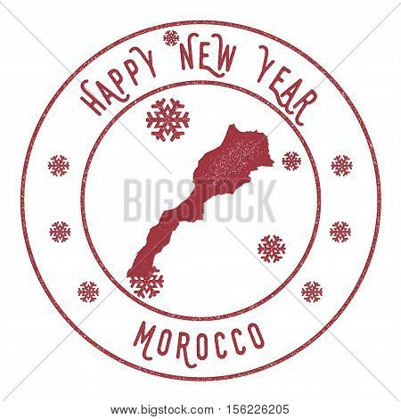 Retro Happy New Year Morocco Stamp. Stylised Rubber Stamp With County Map And Happy New Year Text, V
