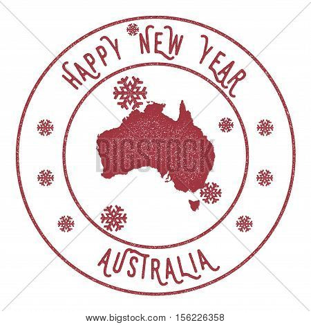 Retro Happy New Year Australia Stamp. Stylised Rubber Stamp With County Map And Happy New Year Text,