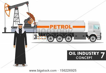 Detailed illustration of gasoline truck, oil pump and arab man in flat style on white background.