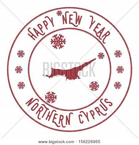 Retro Happy New Year Northern Cyprus Stamp. Stylised Rubber Stamp With County Map And Happy New Year