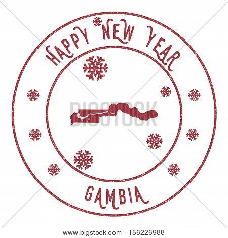 Retro Happy New Year Gambia Stamp. Stylised Rubber Stamp With County Map And Happy New Year Text, Ve