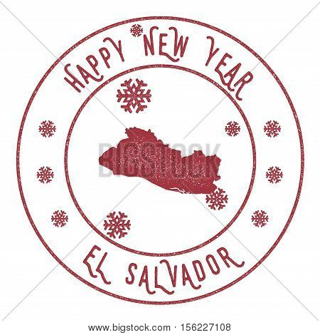 Retro Happy New Year El Salvador Stamp. Stylised Rubber Stamp With County Map And Happy New Year Tex