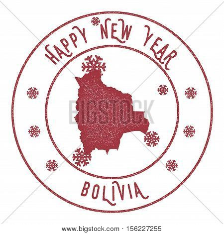 Retro Happy New Year Bolivia Stamp. Stylised Rubber Stamp With County Map And Happy New Year Text, V