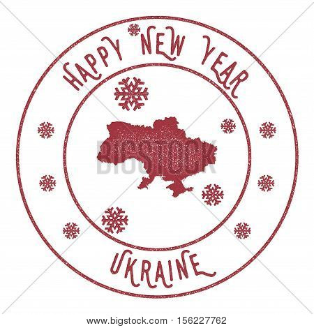 Retro Happy New Year Ukraine Stamp. Stylised Rubber Stamp With County Map And Happy New Year Text, V
