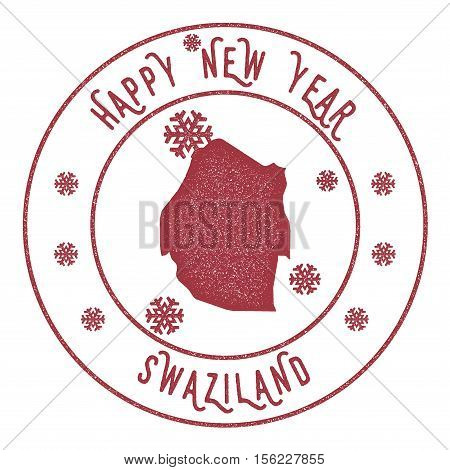 Retro Happy New Year Swaziland Stamp. Stylised Rubber Stamp With County Map And Happy New Year Text,