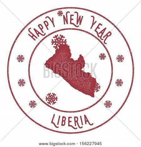 Retro Happy New Year Liberia Stamp. Stylised Rubber Stamp With County Map And Happy New Year Text, V