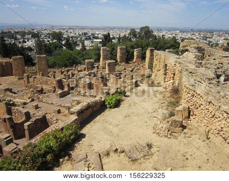 Ruins of ancient Carthage about the capital of Tunisia