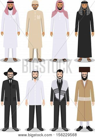 Detailed illustration of different standing arab and jewish men in the traditional national clothing isolated on white background in flat style.