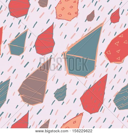Raindrops Vector Seamless Pattern. Handdrawn Rainy Pattern Background. Naive Melancholic Raindrops S