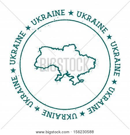 Ukraine Vector Map. Retro Vintage Insignia With Country Map. Distressed Visa Stamp With Ukraine Text
