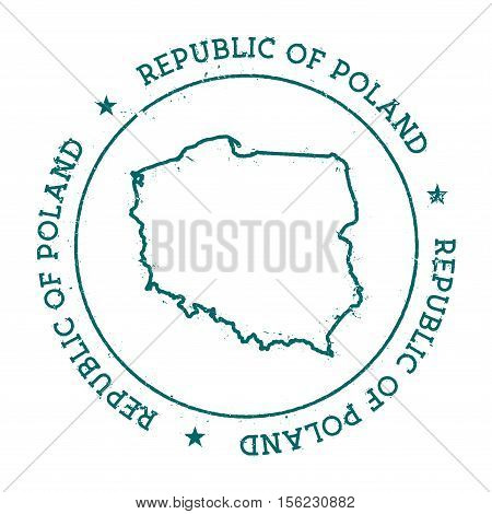 Republic Of Poland Vector Map. Retro Vintage Insignia With Country Map. Distressed Visa Stamp With R