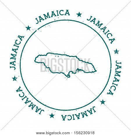 Jamaica Vector Map. Retro Vintage Insignia With Country Map. Distressed Visa Stamp With Jamaica Text