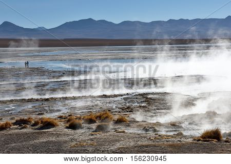 Desert and mountainous landscape in Altiplano - the southern part of Bolivia South America