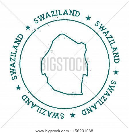 Swaziland Vector Map. Retro Vintage Insignia With Country Map. Distressed Visa Stamp With Swaziland