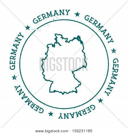 Germany Vector Map. Retro Vintage Insignia With Country Map. Distressed Visa Stamp With Germany Text