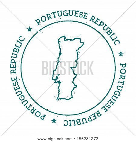 Portugal Vector Map. Retro Vintage Insignia With Country Map. Distressed Visa Stamp With Portugal Te