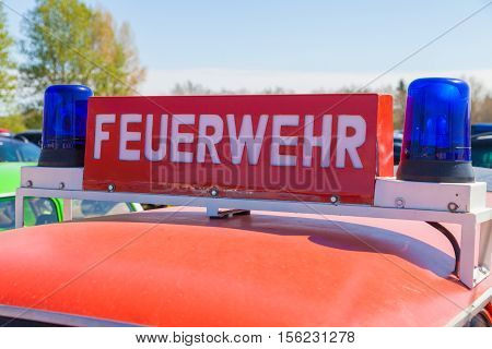 german feuerwehr ( fire service ) sign on a car