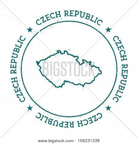 Czech Republic Vector Map. Retro Vintage Insignia With Country Map. Distressed Visa Stamp With Czech