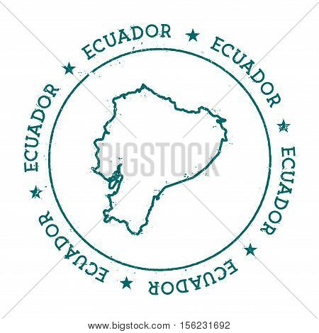 Ecuador Vector Map. Retro Vintage Insignia With Country Map. Distressed Visa Stamp With Ecuador Text