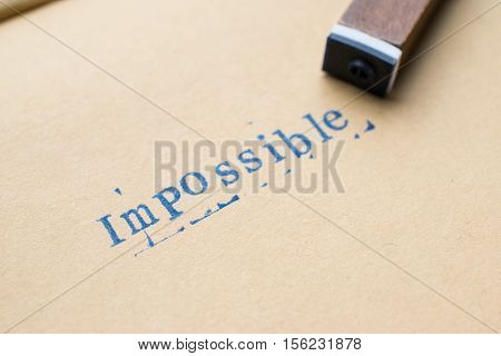 Alphabet Letter Word Impossible From Stamp Letters Font On Paper For Impossible Concept Background