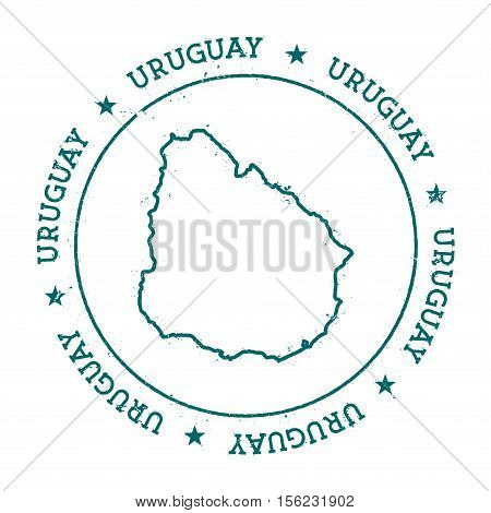 Uruguay Vector Map. Retro Vintage Insignia With Country Map. Distressed Visa Stamp With Uruguay Text