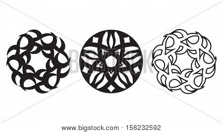 Tribal floral spheres artwork collection - tattoo vector