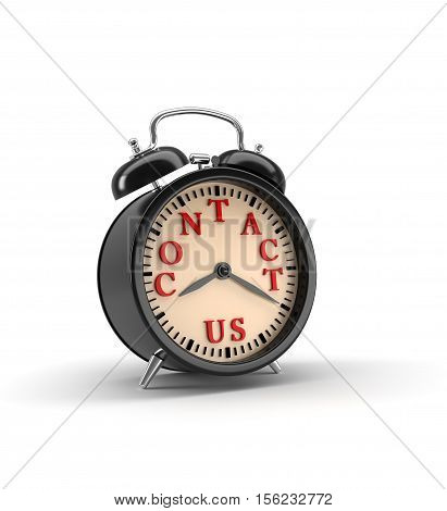 Alarm clock with CONTACT US words and clipping path. 3D rendering