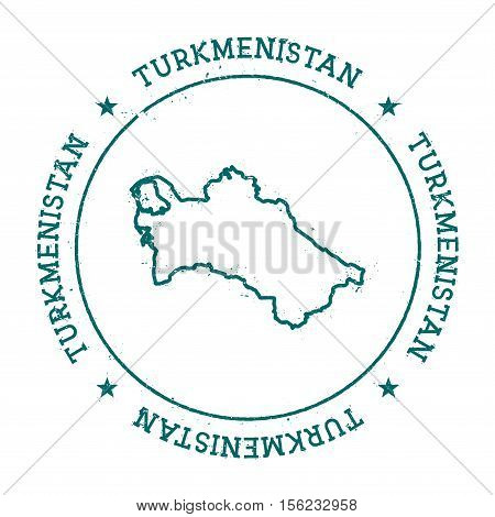 Turkmenistan Vector Map. Retro Vintage Insignia With Country Map. Distressed Visa Stamp With Turkmen