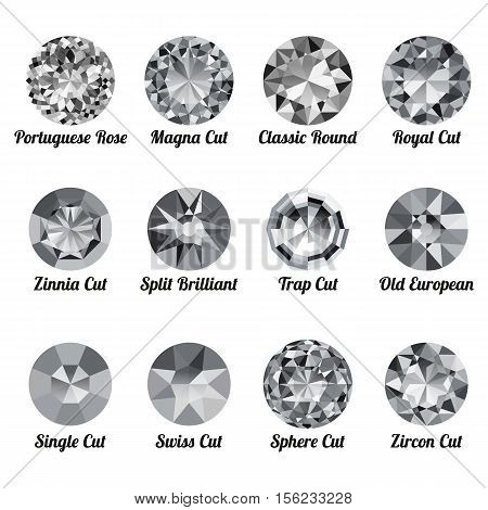 Set of realistic white diamonds with round cuts isolated on white background. Jewel and jewelry. Colorful gems and gemstones. Magna classic round royal zinnia trap single swiss sphere zircon