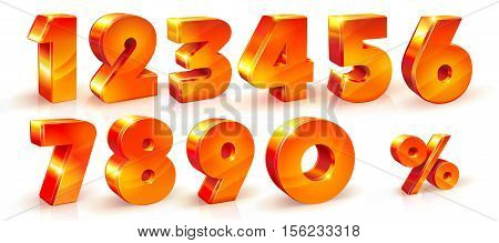 Vector set of shiny orange red numbers 1, 2, 3, 4, 5, 6, 7, 8, 9, 0 signs and percent sign. suitable for use on advertising banners, posters flyers promotional items Seasonal discounts Black Friday the interest rate