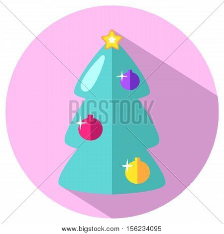 Mint green fir tree with ornament and star on pink background. Pink and mint fir tree flat vector icon. Christmas or New Year stamp or logo with fir tree. Christmas fir tree isolated design element