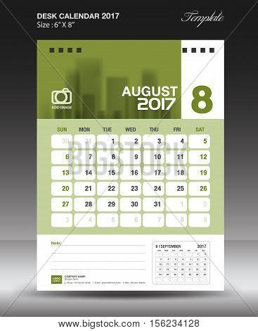 August Desk calendar 2017 G,reen Calendar 2017 vertical ,calendar 2017 size 6 x 8 inch vector template