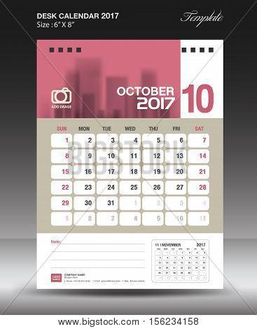 October Desk calendar 2017, Pink Calendar 2017, vertical calendar 2017 size 6 x 8 inch vector template