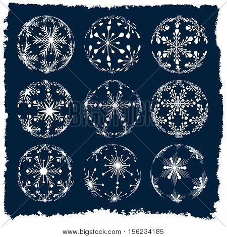 set of christmas ball silhouettes created from snowflakes with vintage winter frame isolated holiday illustration