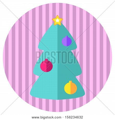 Pink and mint fir tree flat style vector icon. Retro style Christmas or New Year stamp or logo with fir tree. Ornament fir tree icon on round background. Flat style Christmas icon. Winter holiday icon