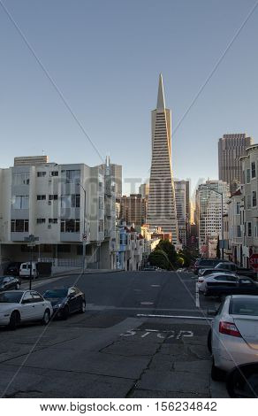 SAN FRANCISCO CALIFORNIA - MARCH 1 2015: Skyline of Downtown areas of San Francisco at sunset