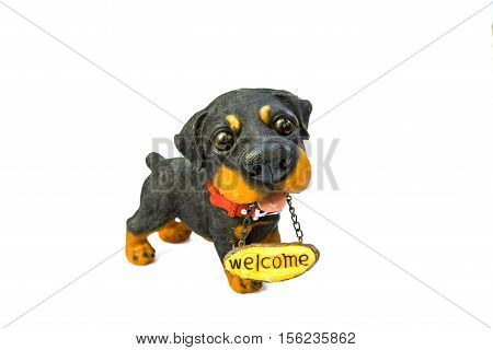 dog with the inscription Welcome on a white background
