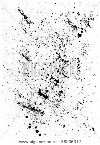 Abstract Background with black blots and ink splashes isolated on white. Element for design in grunge style.