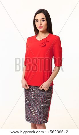 woman with straight hair style in red blouse and skirt close up photo isolated o white