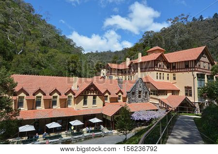 Jenolan Caves House an historical heritage building located in the remote Jenolan Karst Conservation Reserve Blue Mountains National Park in New South Wales Australia.