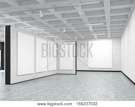 Empty art gallery with blank posters hanging on the walls. Concept of modern art and advertising. 3d rendering. Mock up