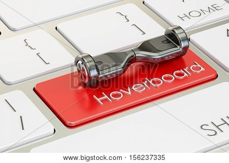 hoverboard button on computer keyboard 3D rendering