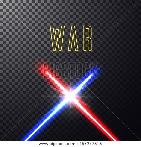 Realistic bright blue, red laser halogen beams. Crossed light swords on isolated transparent black background. Weapon futuristic from war. Vector illustration, design elements for your projects