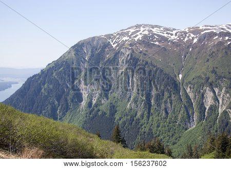 Mount Juneau of 3576 feet (1090 meters) height standing next to Juneau town capital of Alaska.