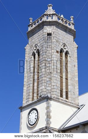 The tower of St Joseph's Cathedral in Noumea city (New Caledonia).