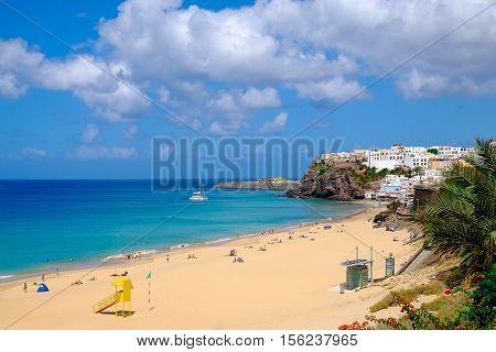 View on the beach Playa de Morro Jable on the Canary Island Fuerteventura Spain - 20.06.2016.