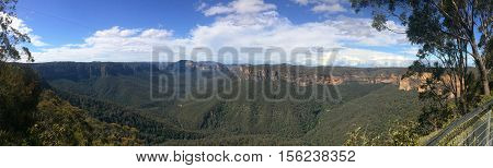 Panoramic Landscape View Of Govetts Leap Lookout Of Grose Valley Located Within The Blue Mountains N